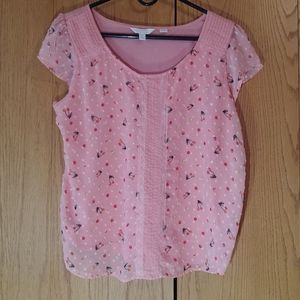 Lauren Conrad Pale Pink Blouse with Cherry Pattern